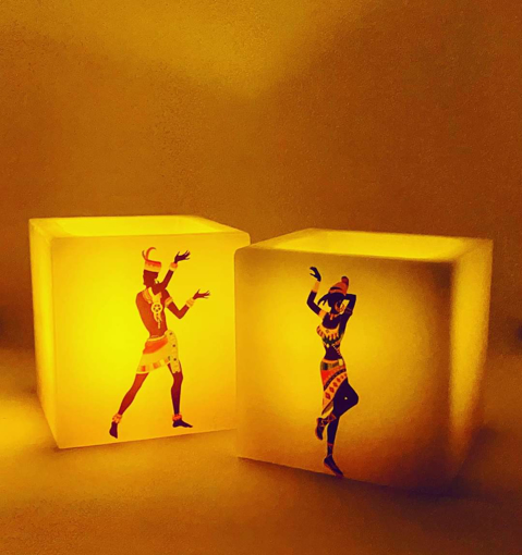 Picture of African Dancers Luminary Candle Large